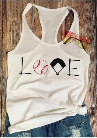 Love Baseball O-Neck Racerback Tank
