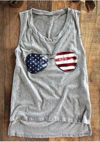 American Flag Glasses O-Neck Tank