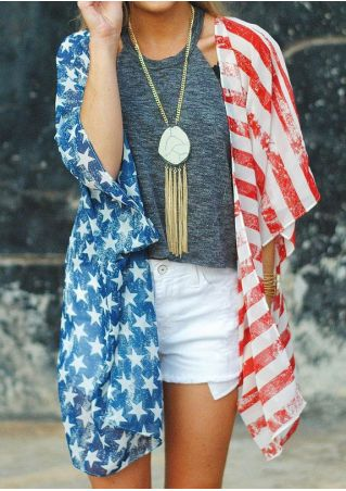 American Flag Printed Kimono without Necklace