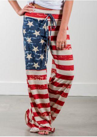 American Flag Drawstring Wide Leg Pants