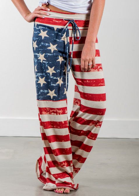 Pants American Flag Drawstring Wide Leg Pants in Multicolor. Size: S,M,L,XL,2XL,3XL фото