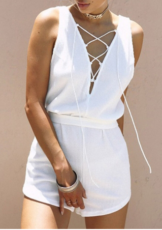 Solid Lace Up Deep V-Neck Romper with Belt without Necklace