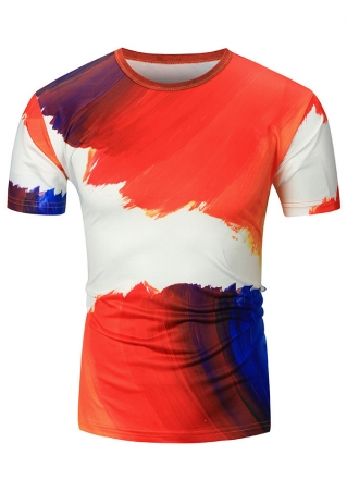 Color Block O-Neck Short Sleeve T-Shirt