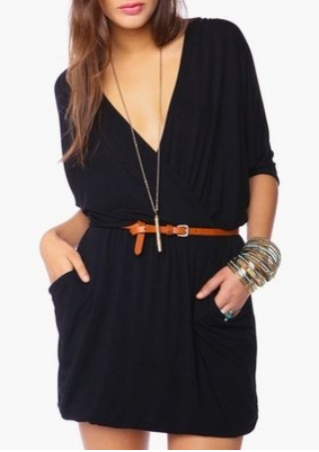 Solid Pocket Deep V-Neck Mini Dress without Necklace and Belt