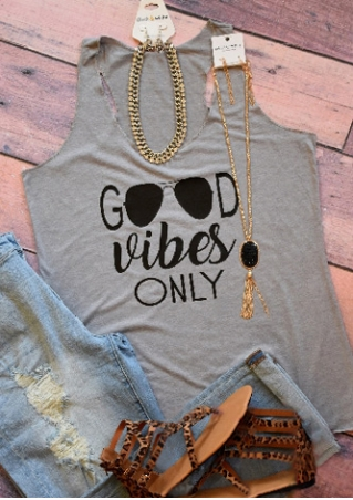 Good Vibes Only Glasses Printed Tank