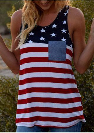 American Flag Pocket Striped Tank