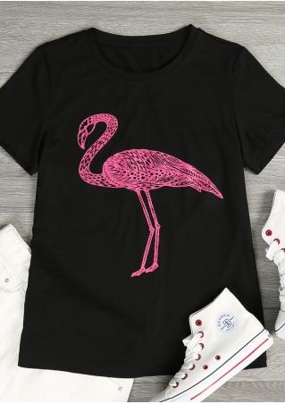 Flamingo O-Neck Short Sleeve T-Shirt