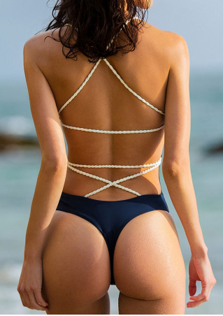 Splicing Criss-Cross Backless Sexy Swimsuit