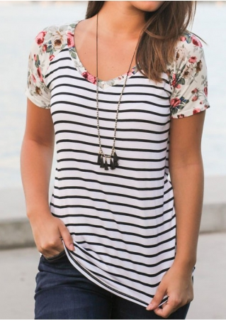 Striped Floral Splicing Baseball T-Shirt without Necklace