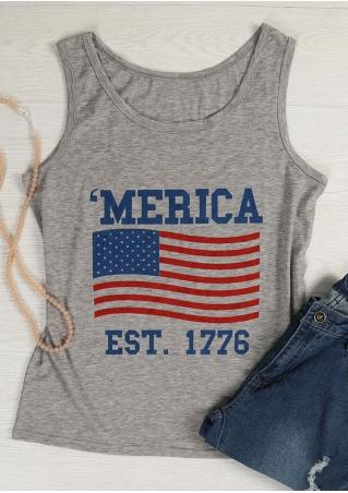 'Merica Est 1776 American Flag Tank