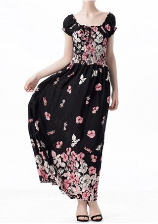 Floral Off Shoulder Ruffled Maxi Dress