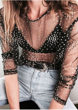 Sequined Mesh See-Through T-Shirt without Necklace