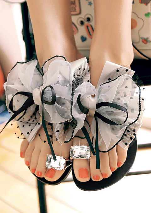 Image of Bowknot Imitated Crystal Sandals