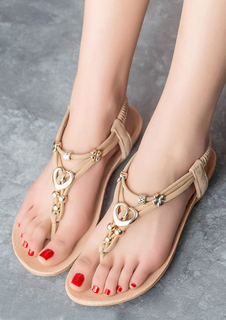 Image of Beading Elastic Band Flat Sandals