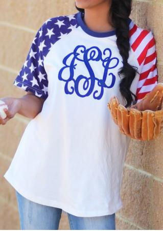 American Flag Baseball T-Shirt American