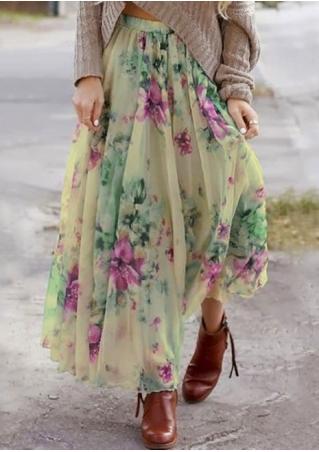 Floral Ruffled A-Line Maxi Skirt