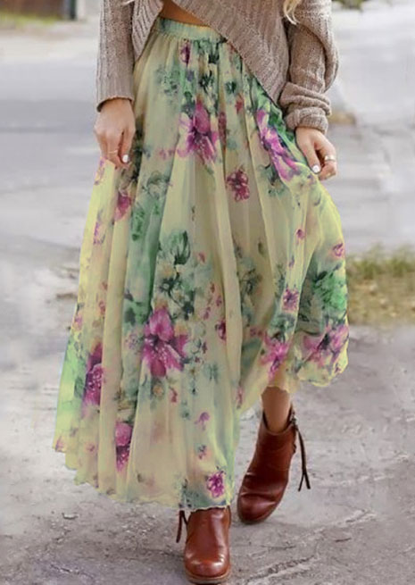 Image of Floral Ruffled A-Line Maxi Skirt