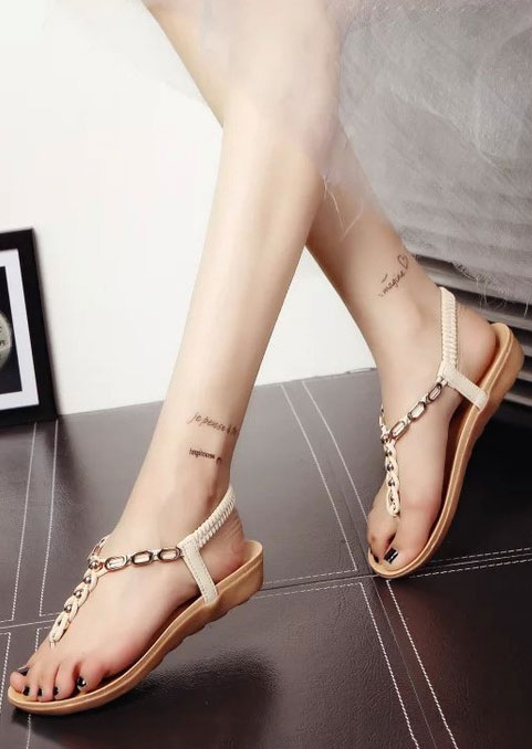 Image of Beading Flip Flop Elastic Band Flat Sandals