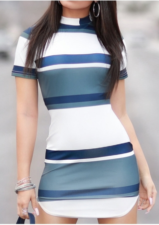 Color Block Slim Fit Bodycon Mini Dress