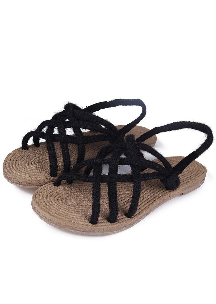 Hemp Rope Cross Strap Sandals Fairyseason