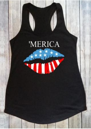 'Merica American Flag Lip Tank