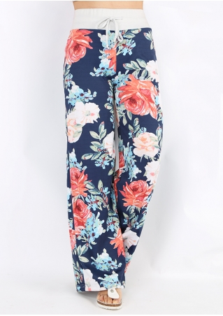 Floral Vintage Drawstring Wide Leg Pants