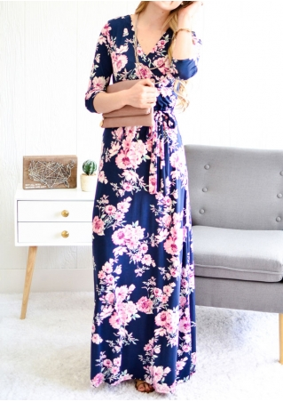 Floral V-Neck Maxi Dress with Belt without Necklace