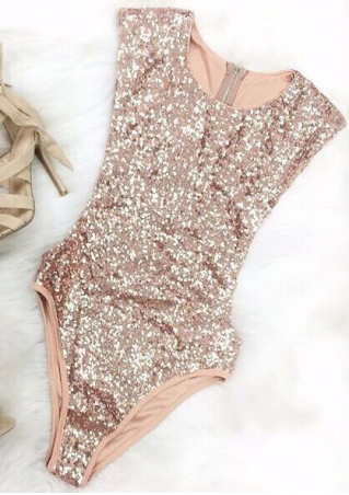 Solid Sequined Back Zipper Swimsuit