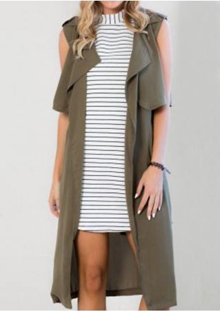 Solid Pocket Sleeveless Vest Coat with Belt