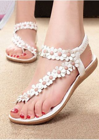 Flower Elastic Band Flat Sandals