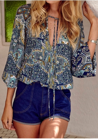 Printed Tie Blouse without Necklace