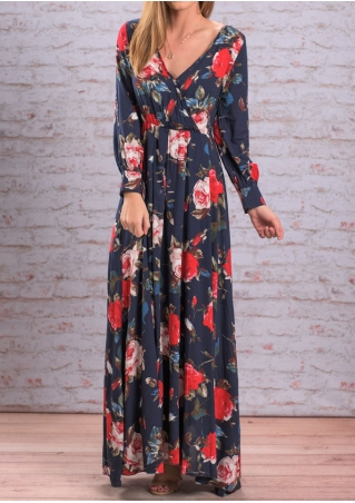 Floral Ruffled Deep V-Neck Maxi Dress without Necklace