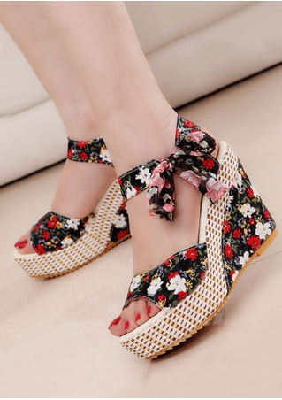 Summer Floral Tie Wedge Sandals