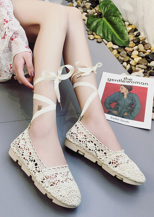 Knitted Hollow Out Lace Up Flats 29916