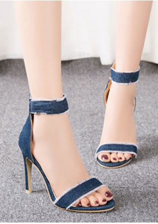 Denim Ankle Strap Heeled Sandals