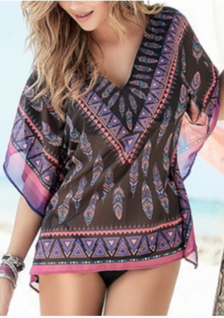 Geometric Printed V-Neck Cover Up