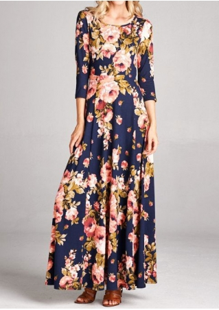 Floral Hollow Out Maxi Dress