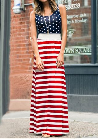 Polka Dot Striped Splicing Maxi Dress without Necklace