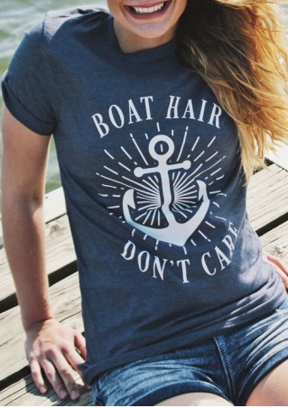 Boat Hair Don't Care Anchor T-Shirt Boat