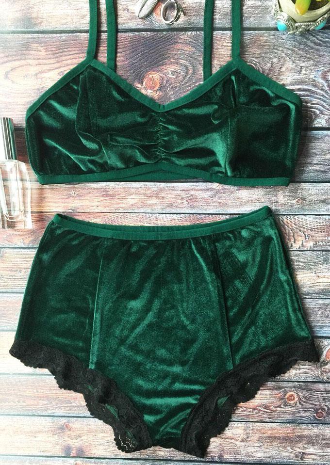 Silk Velvet Lace Splicing Bra and Panties Set 29943
