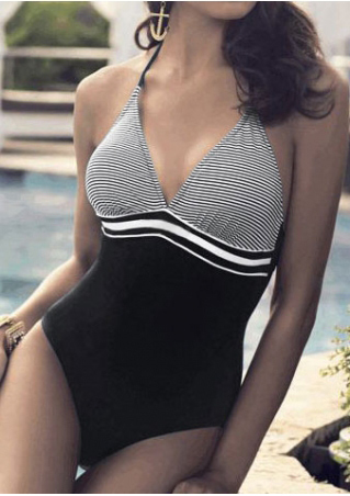 Striped Splicing Halter Sexy Swimsuit
