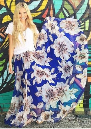 Floral A-Line Long Skirt