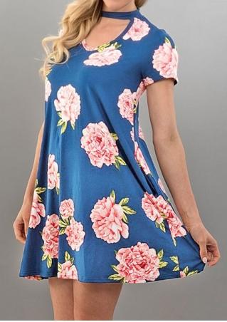 Floral Pocket Cut Out Mini Dress