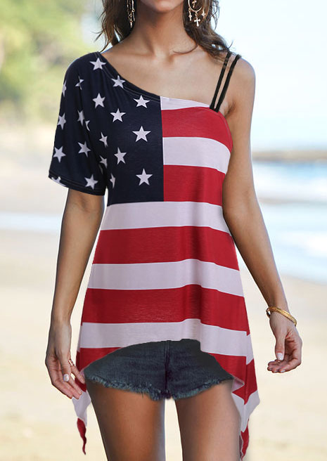 Image of American Flag Strappy Asymmetric Blouse