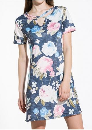 Floral Criss-Cross Short Sleeve Casual Dress