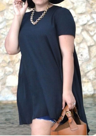 Solid Plus Size Asymmetric Casual Dress without Necklace