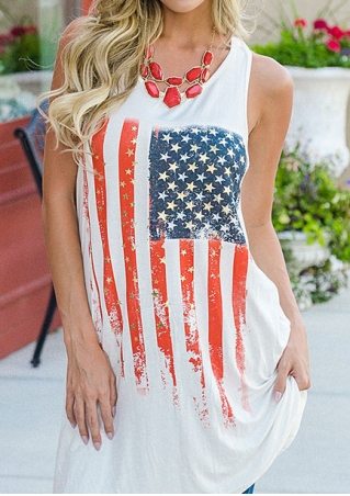 American Flag Printed Long Tank without Necklace