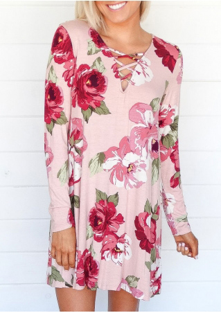 Floral Criss-Cross Long Sleeve Mini Dress