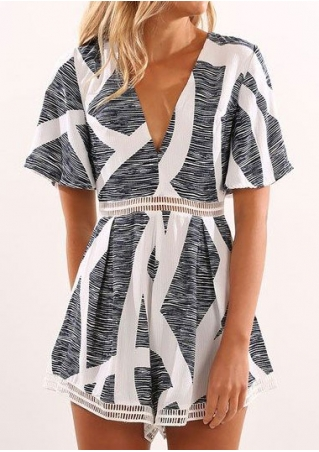 Printed Back Zipper Hollow Out Romper
