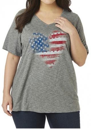 American Flag Heart Plus Size T-Shirt American